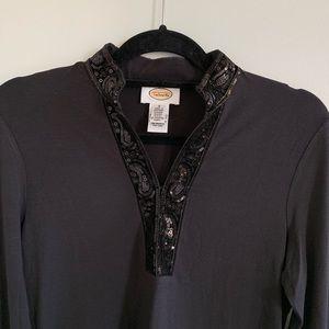 Talbots S Black Sequin Trim v neck Tunic Shirt top